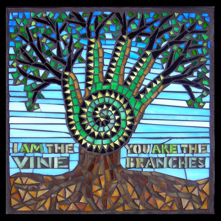 Image result for John 15: 1-8 mosaic tree image