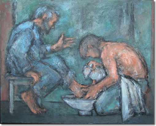 The washing of the feet  Ghislaine Howard (b.1953 )