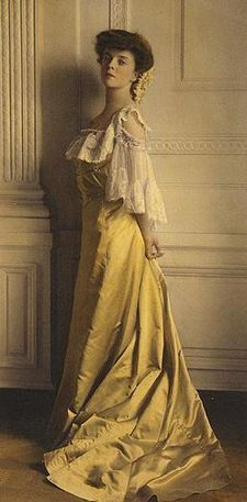 Alice Roosevelt, whose blue dresses defined the color Alice Blue, seen here wearing (nice job, internet) yellow.